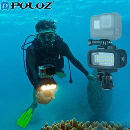 Wholesale Underwater Photo Cameras - PULUZ Photo Underwater Diving Waterproof 20 LED Flash Light Mount W h Hot Shoe Base Adapter for Sports camera Hero 4 3SJCAM Xiaomi Yi