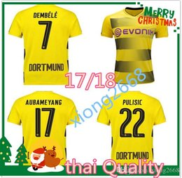 Wholesale Dortmund Football Shirt - thai Quality 17 18 Dortmund home yellow soccer jersey 2017 2018 AUBAMEYANG GOTZE KAGAWA DEMBELE PULISIC REUS away embroidery football shirts
