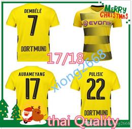 Wholesale Dortmund Jerseys - thai Quality 17 18 Dortmund home yellow soccer jersey 2017 2018 AUBAMEYANG GOTZE KAGAWA DEMBELE PULISIC REUS away embroidery football shirts