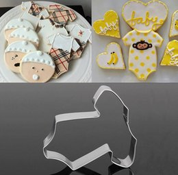Wholesale baby cookie cutters - Wholesale- Stainless Steel Baby Clothes Cake Cookie Cutter Bread Biscuit Decorating Mold PO