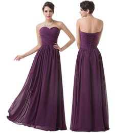 Wholesale Strapless Chiffon Sweetheart Evening Dress - 2018 New Arrival Eleagnt Ruched Strapless Prom Party Dress Chiffon Long Purple Bridesmaid Dresses Evening Dresses Fashion Brides Maid Dress