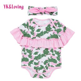 Wholesale New Kid Headband - 2018 New Ruffle Girls Rompers Baby Newborn Infant Camouflage Cotton Clothes Kids Toddler Girls Jumpsuit 0-2t Fashion Outfit with Headband