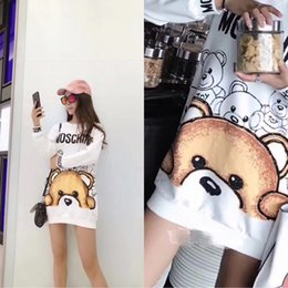 Wholesale Face Cotton Rounds - 2017 early autumn new fashion loose long-sleeved printed round neck half face Bears cotton sweater