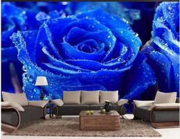 обои для рабочего стола Скидка 3d настроить обои Blue Rose TV Wall обои 3d обои фрески для гостиной