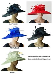 Wholesale Dresses For Races - LARGE BRIM dress Sinamay Hats Church hats,for races,Melbourne cup,wedding kentucky derby