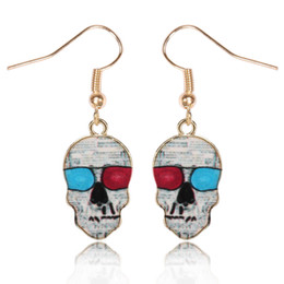 Wholesale Earring Paint - New Earrings for women popular Italian fashion skull earrings gold plated drip painting earrings free shipping