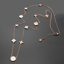 Wholesale White Rose Sweater - Titanium steel Rose Gold long Necklaces for women Top Quality Europe and America white Shell four leaf flower sweater chain pendant necklace