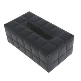 Wholesale Plastic Standards - Wholesale- Durable Leather PU Standard Tissue Box Holder For Home Office Car Rectangular C42