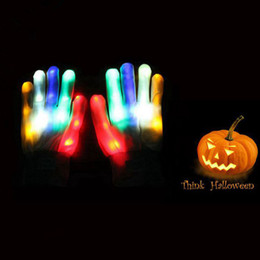 Wholesale Knit Opera - Amazming Colorful LED Gloves Skeleton Light Up Shows Light Up Knit Flashing LED Finger Mittens for Halloween Costume Novelty Toy