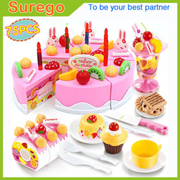 Wholesale Girls Play Kitchen - Kitoz 75pcs Happy Cutting Mini Cake Sweet Toy Miniature Food for Doll Pretend Play Plastic Kitchen Toy Birthday Gift for Girl Kids