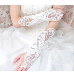 Wholesale Long Lace Fingerless Gloves - 2017 New Arrival Wedding Accessories Long Beading Elbow Length Bridal Gloves Appliques Lace Fingerless Wedding Gloves