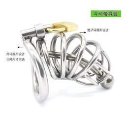 Wholesale Bdsm Tube Urethral Sounding - Super Small Male Bondage Chastity belt Stainless Steel Adult Cock Cage Urethral Sounds Tube BDSM Sex Toys Chastity Device Short Cage 3 size