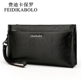 Wholesale Man Coins Wallet - FEIDIKABOLO Brand Zipper Men Wallets with Phone Bag PU Leather Clutch Wallet Large Capacity Casual Long Business Men's Wallets