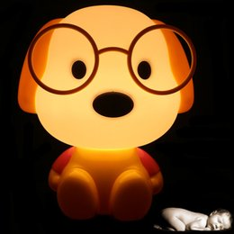 Wholesale Toy Sleeping Dogs - Wholesale- Novelty LED Bulb Baby Room Panda Rabbit Dog cat Cartoon Kids Bed side desk Lamp LED Night Sleeping light Toys Gifts EU US Plug