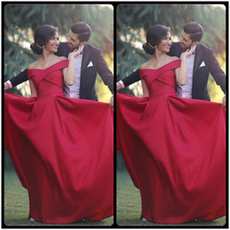 Wholesale Simple Sexy Dresses For Sale - Simple Off Shoulder Red Stain Long Prom Dresses 2017 Cheap Cap Sleeve A Line Evening Gowns Formal Long Dresses For Women Prom On Sale