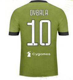 Wholesale Football Shirt Logos - Top Thai quality 17 18 Soccer jersey 2017 2018 third green Buffon MARCHISIO DYBALA HIGUAIN DANI AES Football shirt with cygames logo