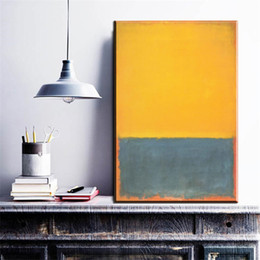 Wholesale Livingroom Decor - ZZ177 modern abstract canvas art mark rothko yellow green color canvas pictures oil art paintings for livingroom bedroom decor