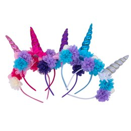 Wholesale Candy Headbands - 5pcs lot Baby Unicorn Horn with flower Unicorn Headband candy color Hairband Easter Bonus DIY Hair Decorative Accessoriess For Party