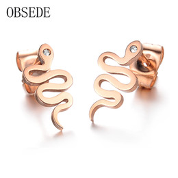 Wholesale Snake Design Earrings - OBSEDE Fashion Snake Design Stud Earrings for Women Rose Gold Color Stainless Steel Earrings With Cubic Zirconia Charm Jewelry