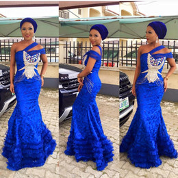 Wholesale Cheap Natural Feathers - 2016 Sexy Mermaid Feather Royal Blue lace One Shoulder Evening Prom Dresses Long Cheap Elegant Evening Gowns
