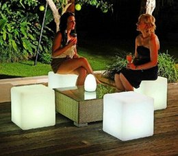Wholesale White Bar Stool - free shipping 30cm *30cm LED cube chair for outdoor party Led Glow Cube Stools Led Luminous Light Bar Stool Color Changeable