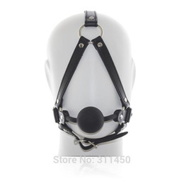 Wholesale Bondage Ball Gag Head Harness - sexy Faux Pu Leather Head Harnesses Restraint Ball Gag Sex Bondage Fetish Black Male Female Unisex