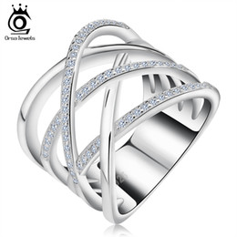 Wholesale Pave Cz - Big Size Silver Ring with Micro Paved AAA CZ High Polished White Gold Plated Ring for Women Party OR85