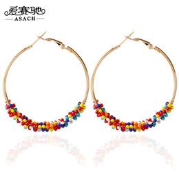 Wholesale Beads For Hoop Earrings - Wholesale- ASACH 7 Color Bohemia Bead Hoop Earrings For Women Big Circle Earrings Ear Hoops brincos para as mulheres Jewelry pendientes aro