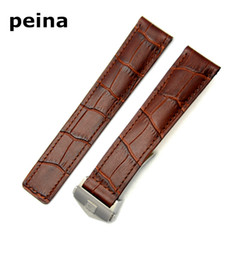Wholesale Thin Leather Bracelets - 20mm New Men Black or Brown Thin no holes Genuine Leather Watch Bands strap Use For TAGheuer Watch