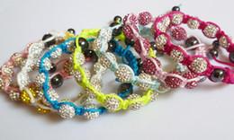 Wholesale Cheap Bangle Bead - High Quality 10mm Shamballa Crystal Beads Bracelets Bangles,Wholesale Cheap White Yellow Pink Shamballa Bracelets For Women Men Lovers K719