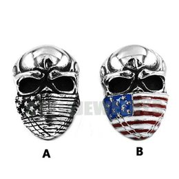 Wholesale Motor Jewelry - Free shipping! American Flag Infidel Skull Ring Stainless Steel Jewelry Vintage Motor Biker Men Ring Wholesale SWR0368AB