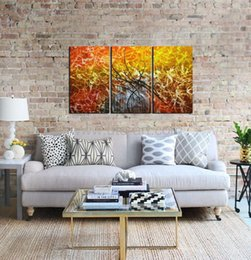 Wholesale Orange Abstract Canvas Art - New Guarantee 3 Piece Canvas Art Printed Painting Picture Print on Canvas Orange Abstract Painting Wall Panels for Living Room