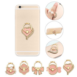 Wholesale Heart Phone Holder - Universal 360 Degree Pink Flower Bowknot Cat Fish Heart Crystal Finger Ring Holder Phone Stand For Mobile Phones