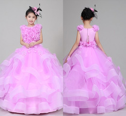Wholesale Piano Images - High Quality Free Shipping New 2018 Girls Dress Skirt Pink Girl Piano Performance Catwalk Dress Clothing Pompon Skirt Dresses