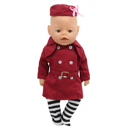 Wholesale Girl Doll Hats - Zapf Baby Born Doll Clothes Stewardess Uniforms + Hat + Sock Suit Fit 43cm Zapf Baby Born Doll Accessories Girl Gift