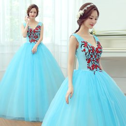 Wholesale Sissi Costume - Free ship light blue flower embroidery medieval dress Renaissance gown Sissi princess Cosplay Victorian Marie Belle Ball
