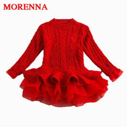 Wholesale Thick Girl Wedding Dresses - MORENNA Thick Warm Girl Dress Christmas Wedding Party Dresses Knitted Chiffon Winter Kids Girls Clothes Children CLothing