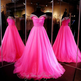 Wholesale beauty pageant dresses ball gown - Designers 2017 New Prom Dresses Luxury Crystal Beaded Beauty Pageant Ball Gown Sexy V Neck Sleeveless Tulle Formal Quinceanera Dress