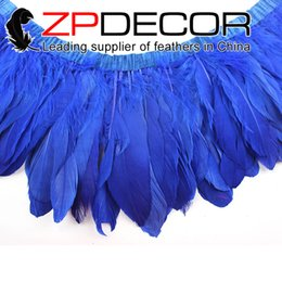 Wholesale Cheap Clothes Factories - ZPDECOR Factory Directly Wholesale 15-20cm(6-8 inch)Dyed Royal Blue Cheap Goose Nagoire and Satinettes Feathers Trims for Clothes Design