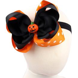 Wholesale Orange Center - Halloween Fall Black Orange Ribbon Flower with Handmade Pumpkin Center Girls Skinny Stretch Headband Great Photography Prop 2016