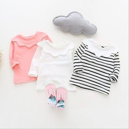 Wholesale Girls Korean Kid T Shirt - ins Korean cute style baby girl stripe and Solid color Flower collar long sleeve T-shirt 100% cotton kids autumn clothing 3 colors