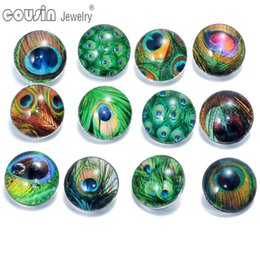 Wholesale Peacock Feather Charms - 12pcs lot Mixed Colors Peacock Feather 18mm snap button Jewelry Faceted glass Snap Fit snap Bracelet Jewelry KZ0089