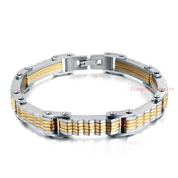 Wholesale High Polished Silver Link Bracelet - New Arrivals Vintage Stainless Steel Bracelet High Quality Men Jewelry High Polished Silver & Gold Plated Biker Chain Jewelry Free Shipping