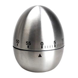 Wholesale Stainless Steel Egg Timers - Apple Egg Mechanical Egg Kitchen Cooking Timer Alarm 60 Minutes Stainless Steel free shipping YH050