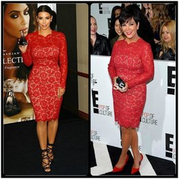 Wholesale Kim Kardashian Knee Length Dresses - Red Carpet Celebrity Dress Evening Kim Kardashian Knee Length Cocktail Dresses Lace Long Sleeves Prom Party Gown Custom Made