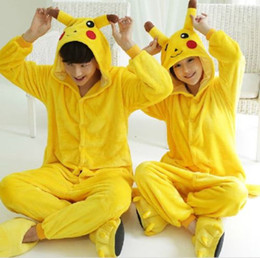 Wholesale Cosplay Pajamas Costume - Lovely Pikachu Fashion Yellow Outfit Pajamas Kigurumi Cosplay Costume flannel Pyjamas Onesies Adult Romper fancy dresses poke mon costumes