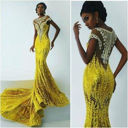 Wholesale Bright Green Dresses - Bright Yellow Lace Mermaid Prom Dresses For Africa Women 2016 Applique Beads Evening Gowns Sweep Train Black Girl Party Dresses