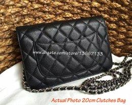Wholesale Brand S Handbags - Women small Crossbody Messenger Bags Classic Women\'s Black Caviar Woc Clutches Bag Brand Style Handbags Female Genuine Leather Shoulder Bag