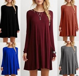 Wholesale Loose Swing Dress - Autumn dress 2017 Women's Long Sleeve Pockets Casual Swing T-shirt Dresses o neck loose mini dress 16 colors DHL 171006