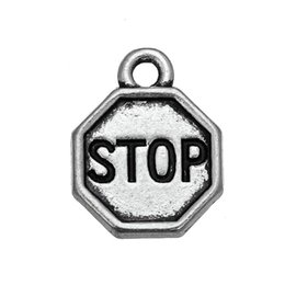 """Wholesale Charm Stops - 50pcs a Lot Antique word """"STOP"""" flag rounded fashion charm jewelry"""